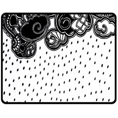 Batik Rain Black Flower Spot Double Sided Fleece Blanket (medium)  by Mariart