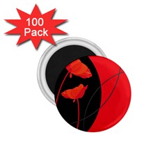 Flower Floral Red Black Sakura Line 1 75  Magnets (100 Pack)  by Mariart