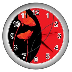 Flower Floral Red Black Sakura Line Wall Clocks (silver)  by Mariart