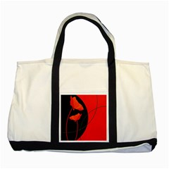 Flower Floral Red Black Sakura Line Two Tone Tote Bag by Mariart