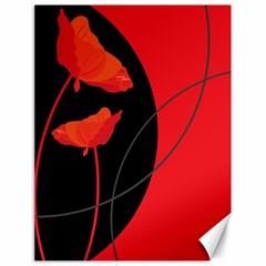 Flower Floral Red Black Sakura Line Canvas 18  X 24   by Mariart