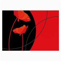 Flower Floral Red Black Sakura Line Large Glasses Cloth (2 Side) by Mariart
