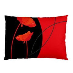 Flower Floral Red Black Sakura Line Pillow Case by Mariart