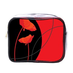 Flower Floral Red Black Sakura Line Mini Toiletries Bags by Mariart