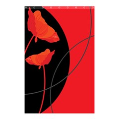 Flower Floral Red Black Sakura Line Shower Curtain 48  X 72  (small)  by Mariart