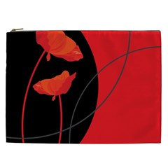 Flower Floral Red Black Sakura Line Cosmetic Bag (xxl)  by Mariart