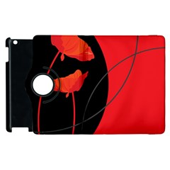 Flower Floral Red Black Sakura Line Apple Ipad 2 Flip 360 Case by Mariart
