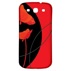 Flower Floral Red Black Sakura Line Samsung Galaxy S3 S Iii Classic Hardshell Back Case by Mariart