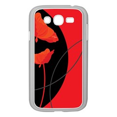 Flower Floral Red Black Sakura Line Samsung Galaxy Grand Duos I9082 Case (white) by Mariart