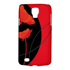 Flower Floral Red Black Sakura Line Galaxy S4 Active by Mariart