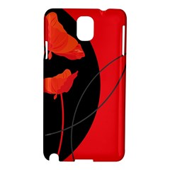 Flower Floral Red Black Sakura Line Samsung Galaxy Note 3 N9005 Hardshell Case by Mariart