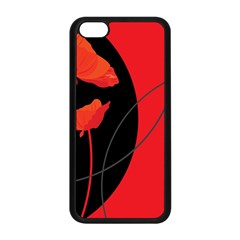 Flower Floral Red Black Sakura Line Apple Iphone 5c Seamless Case (black) by Mariart