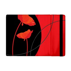 Flower Floral Red Black Sakura Line Ipad Mini 2 Flip Cases by Mariart