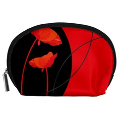Flower Floral Red Black Sakura Line Accessory Pouches (large)