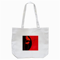 Flower Floral Red Black Sakura Line Tote Bag (white) by Mariart