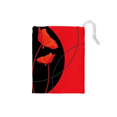Flower Floral Red Black Sakura Line Drawstring Pouches (small)
