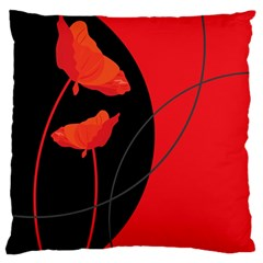 Flower Floral Red Black Sakura Line Large Flano Cushion Case (one Side) by Mariart