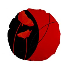 Flower Floral Red Black Sakura Line Standard 15  Premium Flano Round Cushions by Mariart
