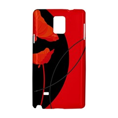 Flower Floral Red Black Sakura Line Samsung Galaxy Note 4 Hardshell Case by Mariart