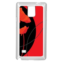 Flower Floral Red Black Sakura Line Samsung Galaxy Note 4 Case (white) by Mariart
