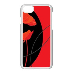 Flower Floral Red Black Sakura Line Apple Iphone 7 Seamless Case (white) by Mariart