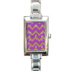 Zig Zags Pattern Rectangle Italian Charm Watch
