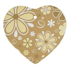 Flower Floral Star Sunflower Grey Ornament (heart) by Mariart