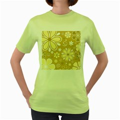 Flower Floral Star Sunflower Grey Women s Green T Shirt by Mariart