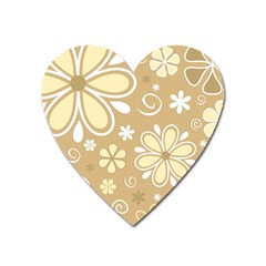 Flower Floral Star Sunflower Grey Heart Magnet by Mariart