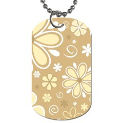 Flower Floral Star Sunflower Grey Dog Tag (one Side) by Mariart