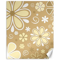 Flower Floral Star Sunflower Grey Canvas 11  X 14   by Mariart