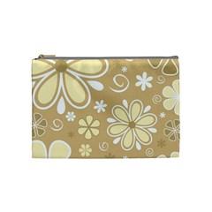 Flower Floral Star Sunflower Grey Cosmetic Bag (medium)  by Mariart