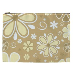 Flower Floral Star Sunflower Grey Cosmetic Bag (xxl)  by Mariart