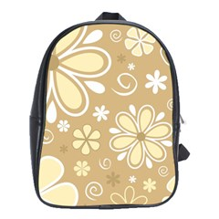 Flower Floral Star Sunflower Grey School Bags (xl)  by Mariart
