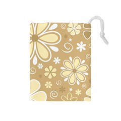 Flower Floral Star Sunflower Grey Drawstring Pouches (medium)  by Mariart