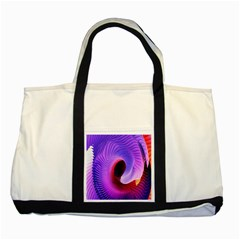 Digital Art Spirals Wave Waves Chevron Red Purple Blue Pink Two Tone Tote Bag by Mariart