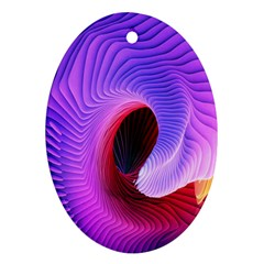 Digital Art Spirals Wave Waves Chevron Red Purple Blue Pink Oval Ornament (two Sides) by Mariart