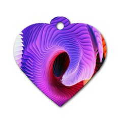 Digital Art Spirals Wave Waves Chevron Red Purple Blue Pink Dog Tag Heart (two Sides) by Mariart