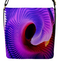 Digital Art Spirals Wave Waves Chevron Red Purple Blue Pink Flap Messenger Bag (s) by Mariart
