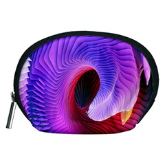 Digital Art Spirals Wave Waves Chevron Red Purple Blue Pink Accessory Pouches (medium)  by Mariart