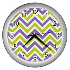 Zig Zags Pattern Wall Clocks (silver)  by Valentinaart