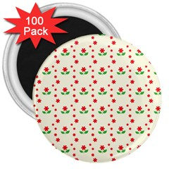 Flower Floral Sunflower Rose Star Red Green 3  Magnets (100 Pack) by Mariart