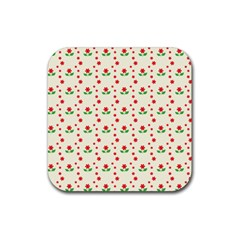 Flower Floral Sunflower Rose Star Red Green Rubber Square Coaster (4 Pack)  by Mariart