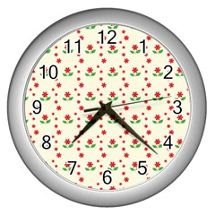Flower Floral Sunflower Rose Star Red Green Wall Clocks (silver)  by Mariart