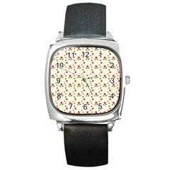 Flower Floral Sunflower Rose Star Red Green Square Metal Watch by Mariart
