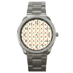 Flower Floral Sunflower Rose Star Red Green Sport Metal Watch by Mariart