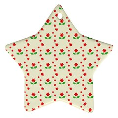 Flower Floral Sunflower Rose Star Red Green Star Ornament (two Sides) by Mariart