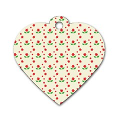 Flower Floral Sunflower Rose Star Red Green Dog Tag Heart (one Side) by Mariart