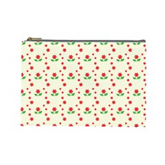 Flower Floral Sunflower Rose Star Red Green Cosmetic Bag (large)  by Mariart