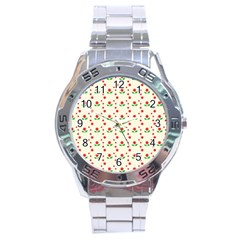 Flower Floral Sunflower Rose Star Red Green Stainless Steel Analogue Watch by Mariart